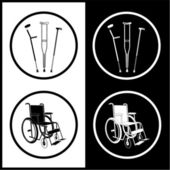 Vector crutches and invalid chair icons — Stock Vector