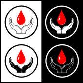 Vector gota en los iconos de las manos — Vector de stock
