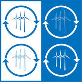Vector wind turbine icons — Stock Vector