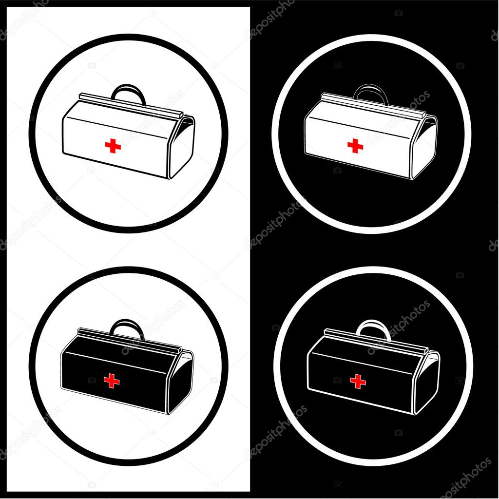 Vector medical suitcase icons. Black and white. Simply change.  — Stock Vector #6713976