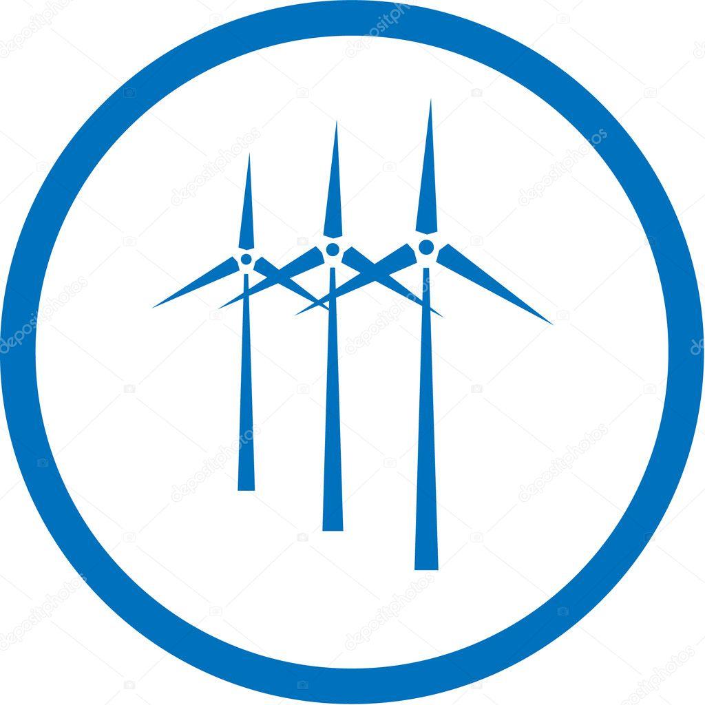Vector wind turbine icon - Stock Illustration
