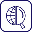Vector globe and magnifying glass icon — 图库矢量图片
