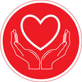 Vector heart and hands icon — Stock Vector
