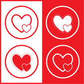 Vector careful heart icons — Stock Vector