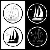 Vector yacht icons — Stock Vector