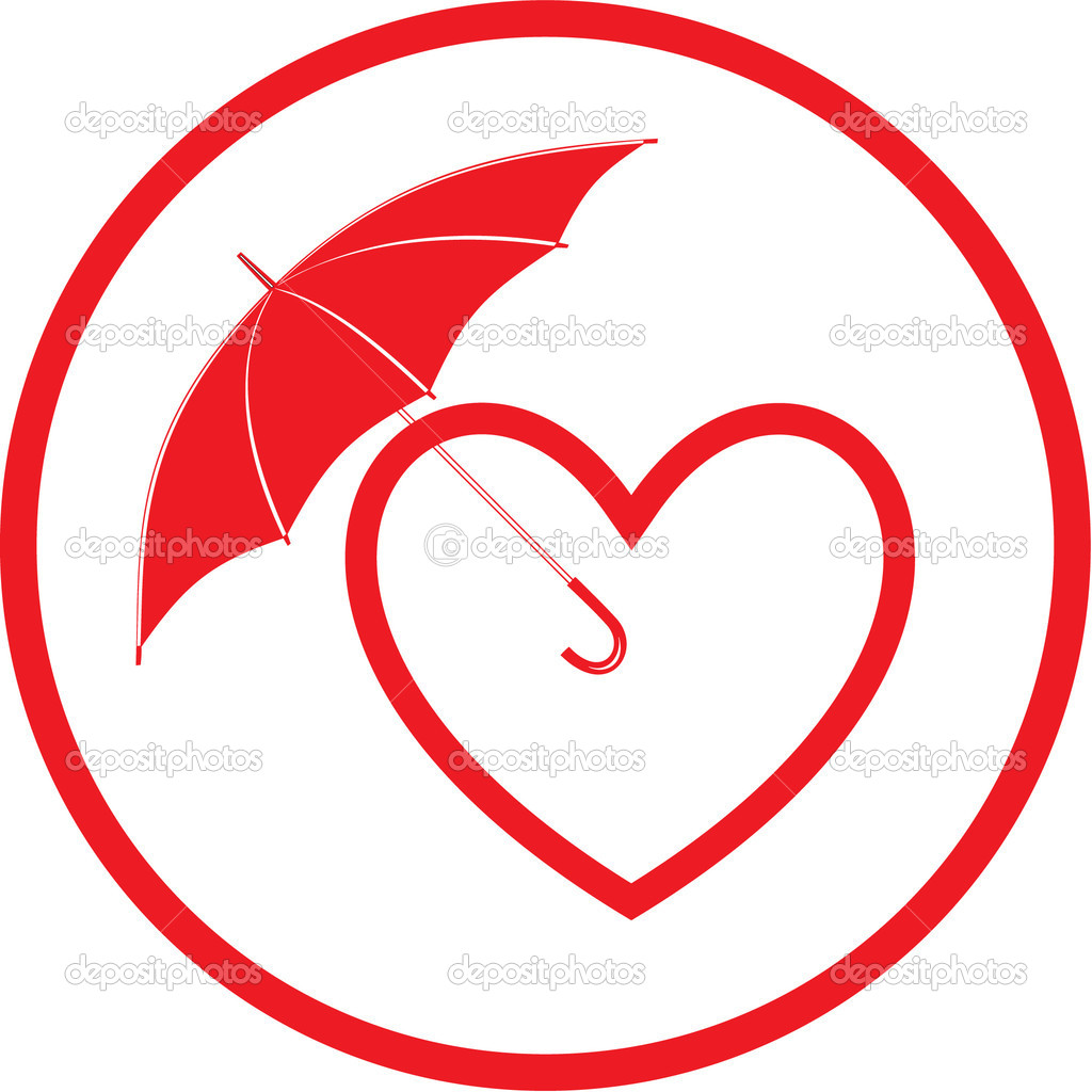 Vector heart and umbrella icon. Red and white. Simply change.  — Stock Vector #6721617
