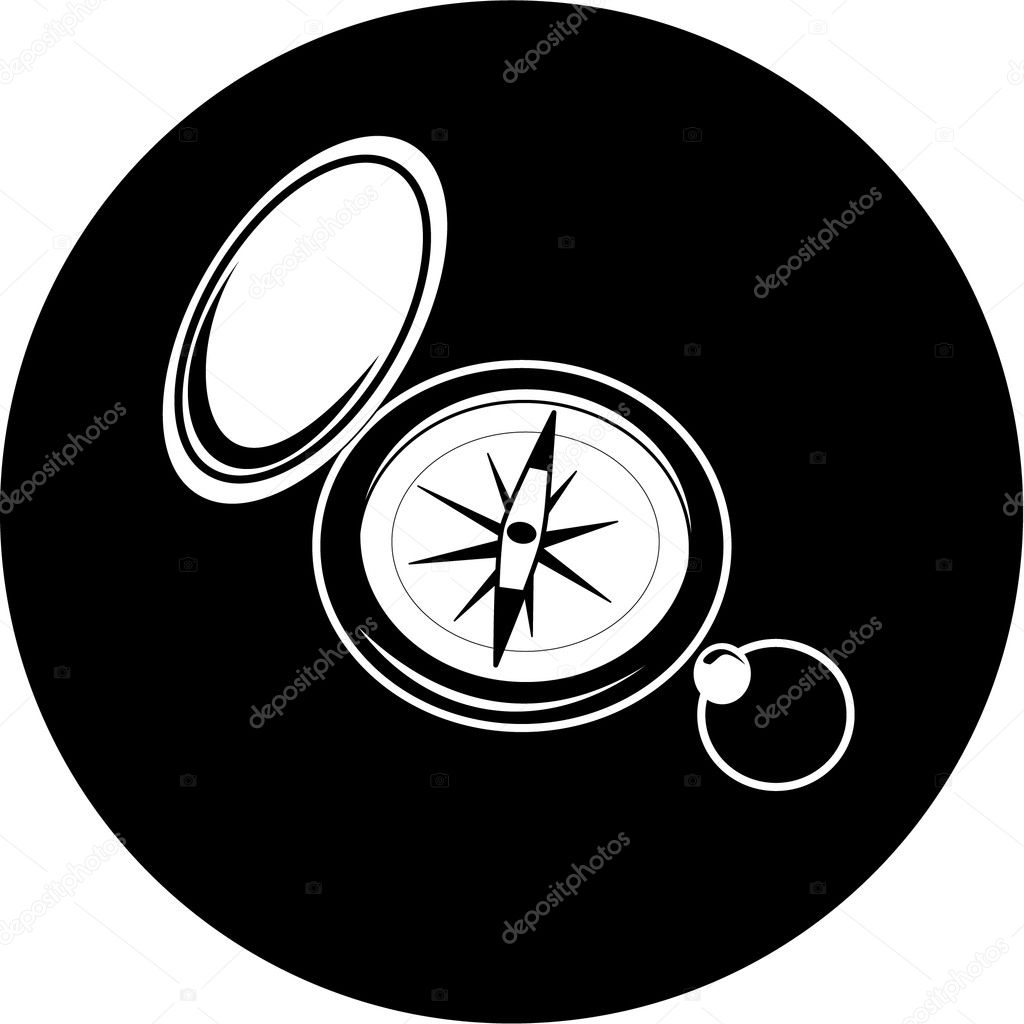 Vector compass icon. Black and white. Simply change. — Stock Vector #6721665