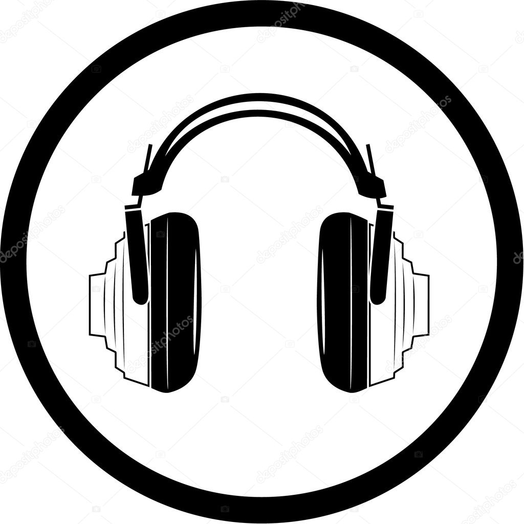 Vector headphones icon. Black and white. Simply change.  — Stock Vector #6721756