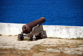 Cannon inside the fortress in Sagres Point Portugal — Stock Photo
