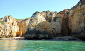 Beach in Lagos in the Algarve Portugal — 图库照片