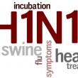 Swine flu H1N1 disease with virus vaccine - Stock Photo
