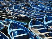 Blue boats in Essaouira port — Zdjęcie stockowe