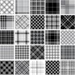 Stock Vector: Big black & white plaid patterns set
