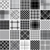 Big black & white plaid patterns set — Stock Vector