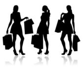 Women with shopping bags — Cтоковый вектор