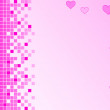 Pink background with pixels and hearts — Stock Photo