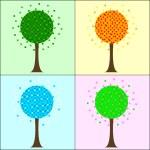 Four seasons trees — Stock Photo