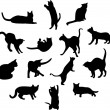 Big set of cats silhouettes - Stock Photo