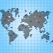 World pixel map on blue background — Stock Photo