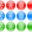 Stock Photo: Glass buttons with snowflakes