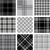 Black & white plaid patterns set — Stock Photo