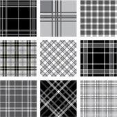 Black & white plaid patterns set — Stock Photo