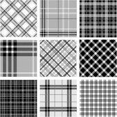 Black & white plaid patterns set — Foto de Stock