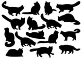 Big set of cat's silhouettes — Stock Photo