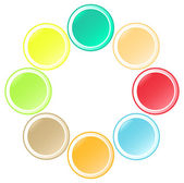 Set of beautiful round buttons in unusual colors — Stock Photo