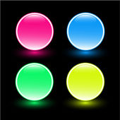Beautiful glass buttons on black background — Stock Photo