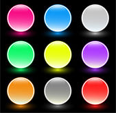 Set of beautiful glass buttons on black background — Stock Photo