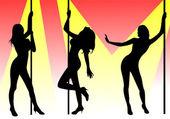 Pole dancers — Stock Photo