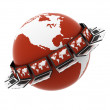 Global network the Internet. Isolated 3D — Foto Stock
