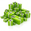 Green gift boxes. 3D image — Stock Photo