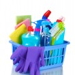 Full box of cleaning supplies isolated on white — Stock Photo #6659928