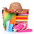 Royalty-Free Stock Photo: Bright striped beach bag and beach items