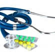 Stethoscope and pills  — Stock Photo #6659967