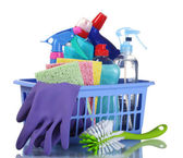 Full box of cleaning supplies isolated on white — Stock Photo