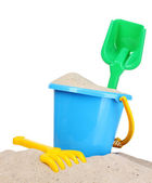 Children's beach toys and sand — Stockfoto