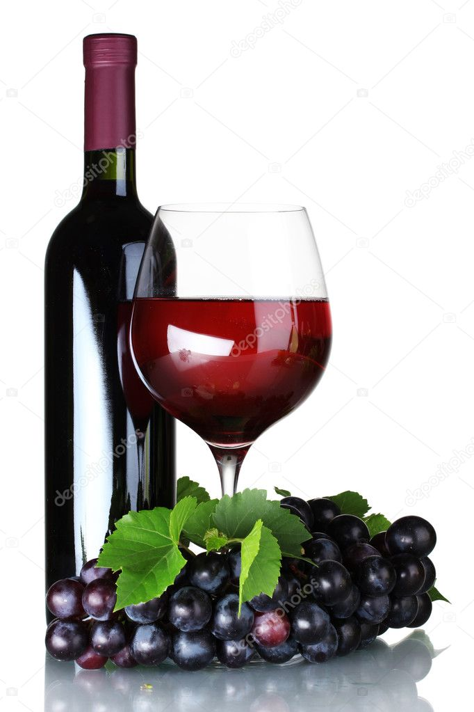 Ripe grapes, wine glass and bottle of wine isolated on white  Stock Photo #6659841
