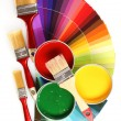 Open tin cans with paint, brushes and palette — Stock Photo