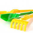 Stock Photo: Children's toy rake and shovel