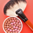 Cosmetic brush and rouge on the red background — Stock Photo