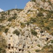 Historical tombs in the mountains near Myra town. Turkey - Stock Photo