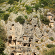 Historical tombs in the mountains near Myra town. Turkey. - Photo