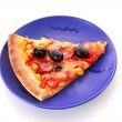Royalty-Free Stock Photo: Tasty pizza with olives on the plate  isolated on white