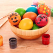 Easter eggs, color paint and brush — Stock Photo