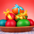 Royalty-Free Stock Photo: Easter eggs with  bows isolated on white