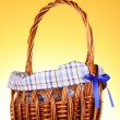 Wicker basket on yellow background — Stock Photo #6660776