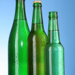Bottles of beer on blue background — Stock Photo #6660881
